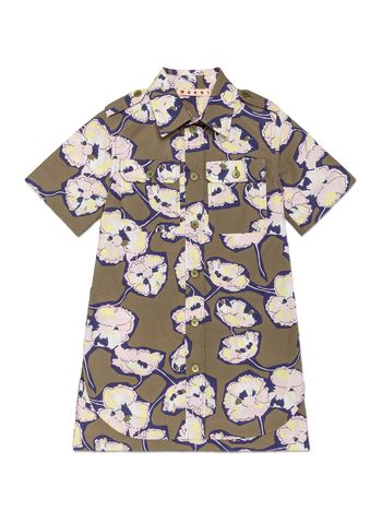 Marni HALF SLEEVES DRESS IN POPELINE WITH WHISPER FLOWER PRINT Woman