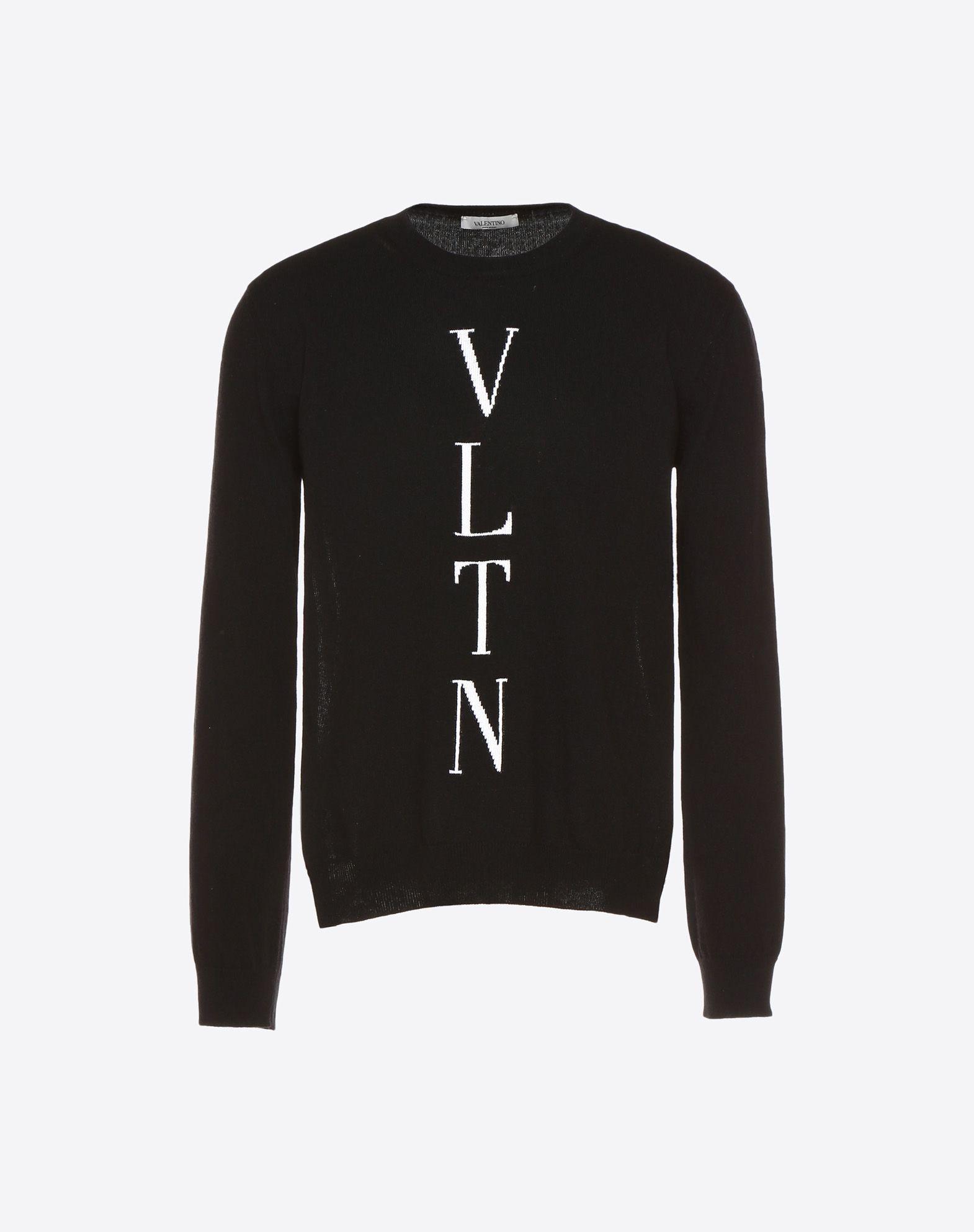 VALENTINO Logo Round collar Long sleeves Side slit hemline Lightweight knitted  49351369kg