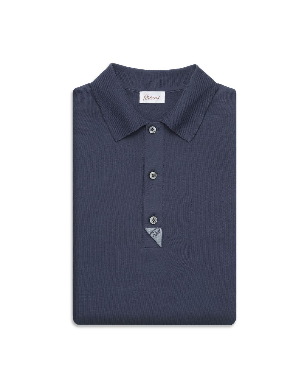 BRIONI Navy Blue and Sky Blue Cotton Polo Shirt with Silk Details T-Shirts & Polos [*** pickupInStoreShippingNotGuaranteed_info ***] e