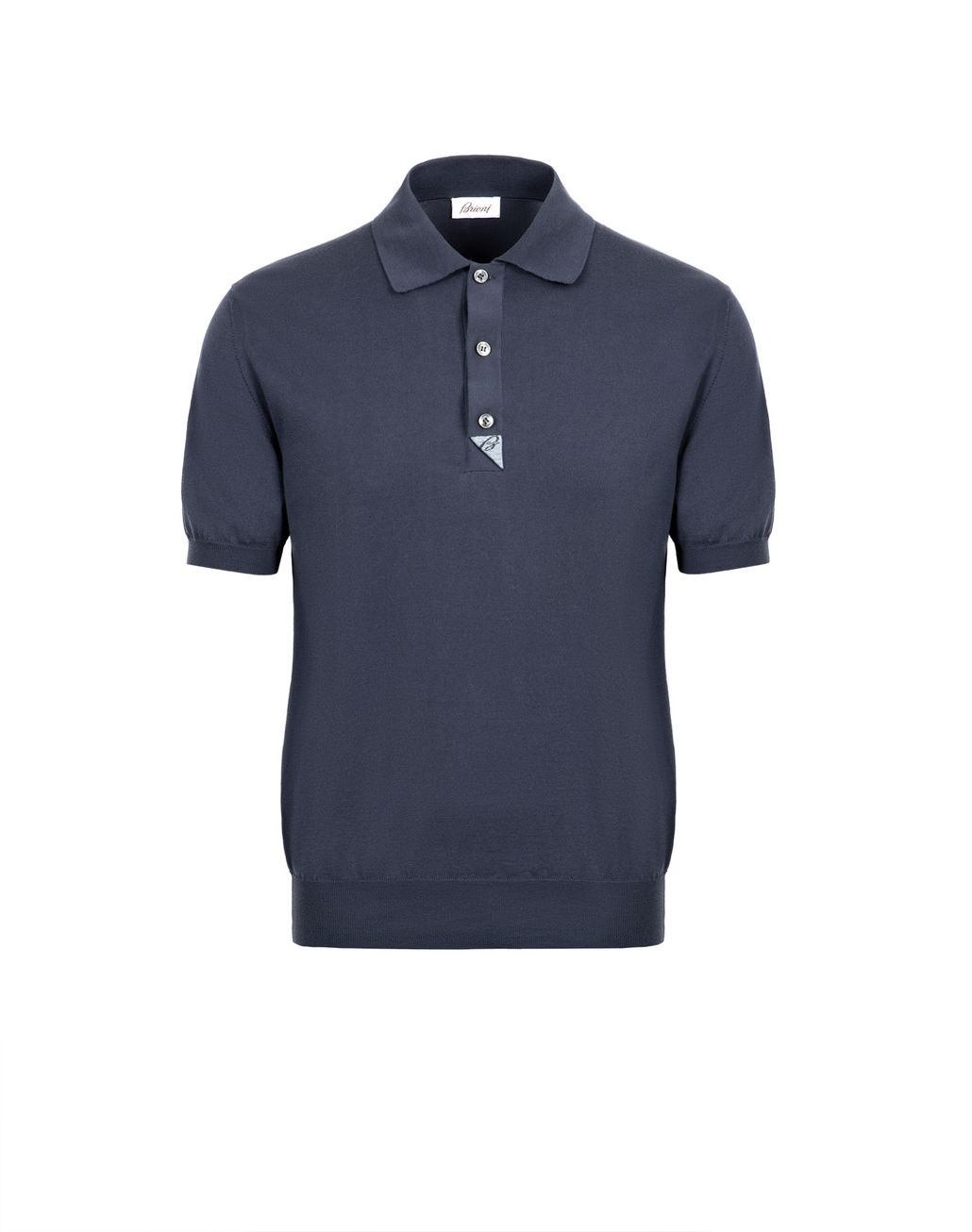 BRIONI Navy Blue and Sky Blue Cotton Polo Shirt with Silk Details T-Shirts & Polos [*** pickupInStoreShippingNotGuaranteed_info ***] f