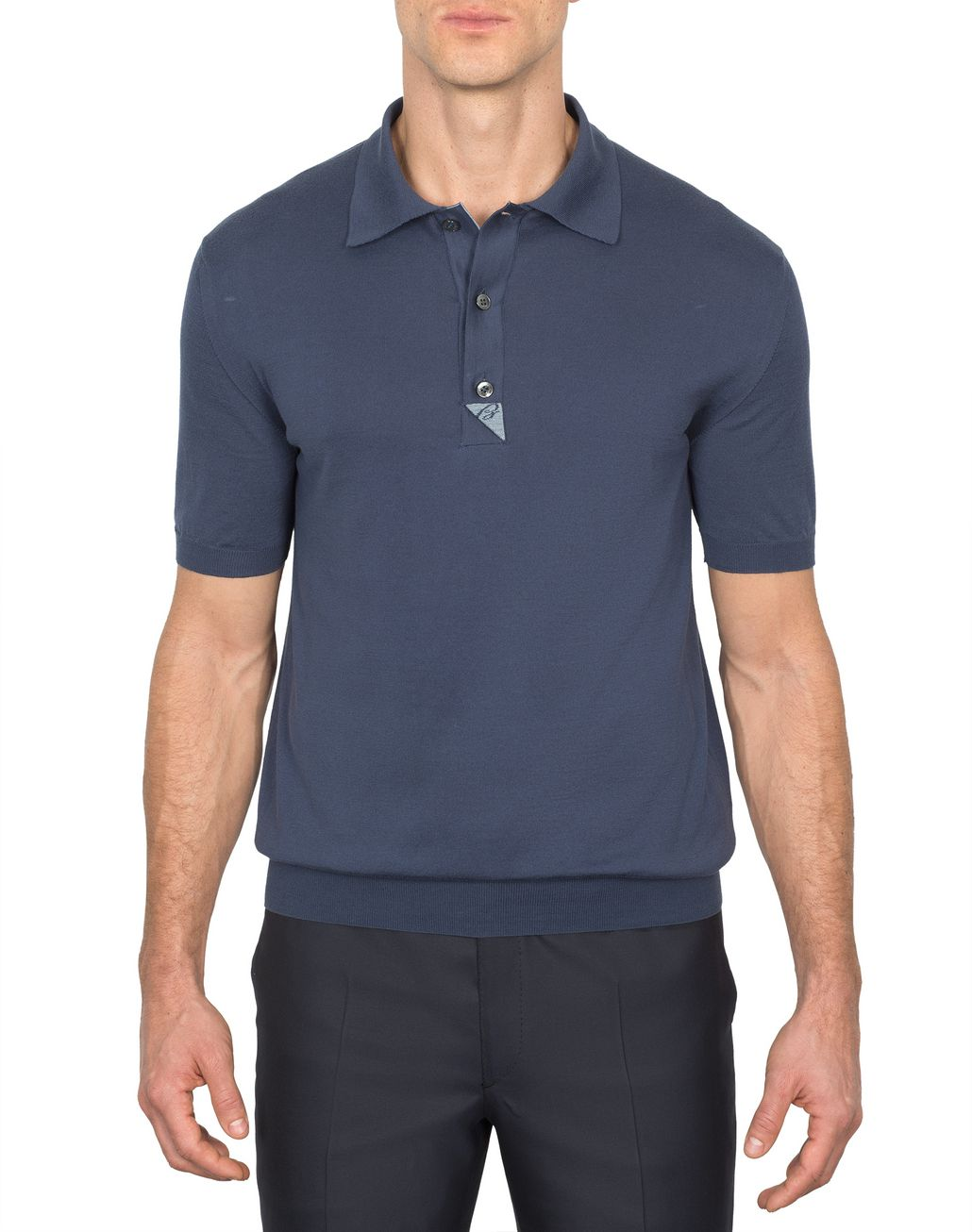 BRIONI Navy-Blue and Sky-Blue Cotton Polo Shirt with Silk Details T-Shirts & Polos [*** pickupInStoreShippingNotGuaranteed_info ***] r