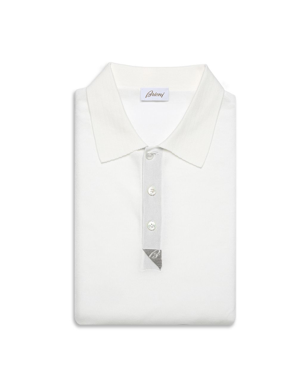BRIONI 象牙色和灰褐色真丝细节棉质 Polo 衫 T 恤及Polo 衫 [*** pickupInStoreShippingNotGuaranteed_info ***] e