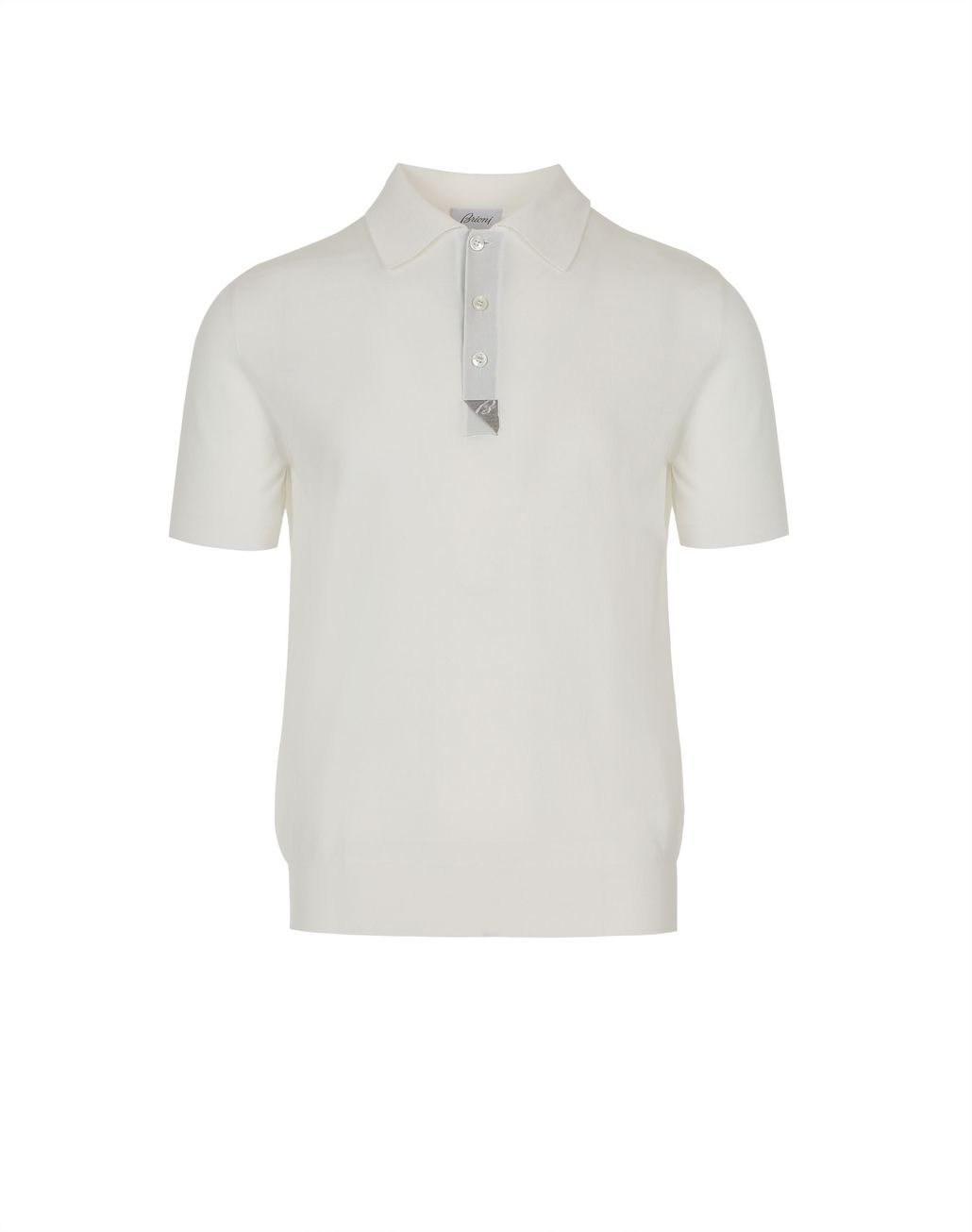 BRIONI 象牙色和灰褐色真丝细节棉质 Polo 衫 T 恤及Polo 衫 [*** pickupInStoreShippingNotGuaranteed_info ***] f