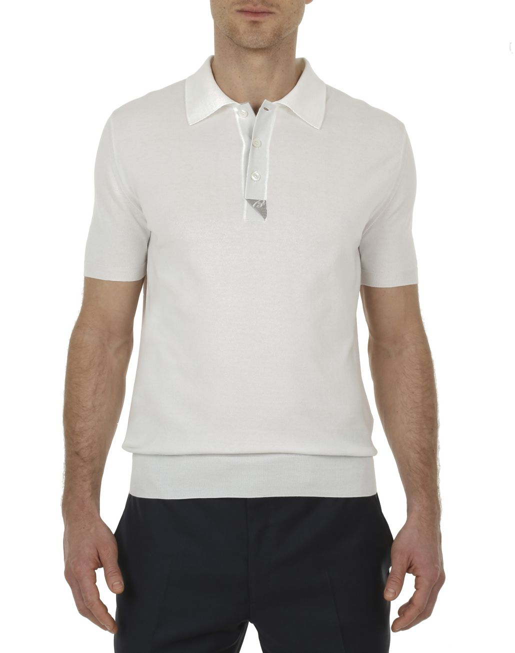 BRIONI Ivory and Taupe Polo Shirt in Cotton with Silk Details T-Shirts & Polos [*** pickupInStoreShippingNotGuaranteed_info ***] r