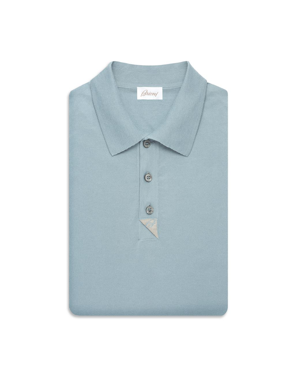 BRIONI Light Blue and Taupe Cotton Polo Shirt with Silk Details T-Shirts & Polos Man e