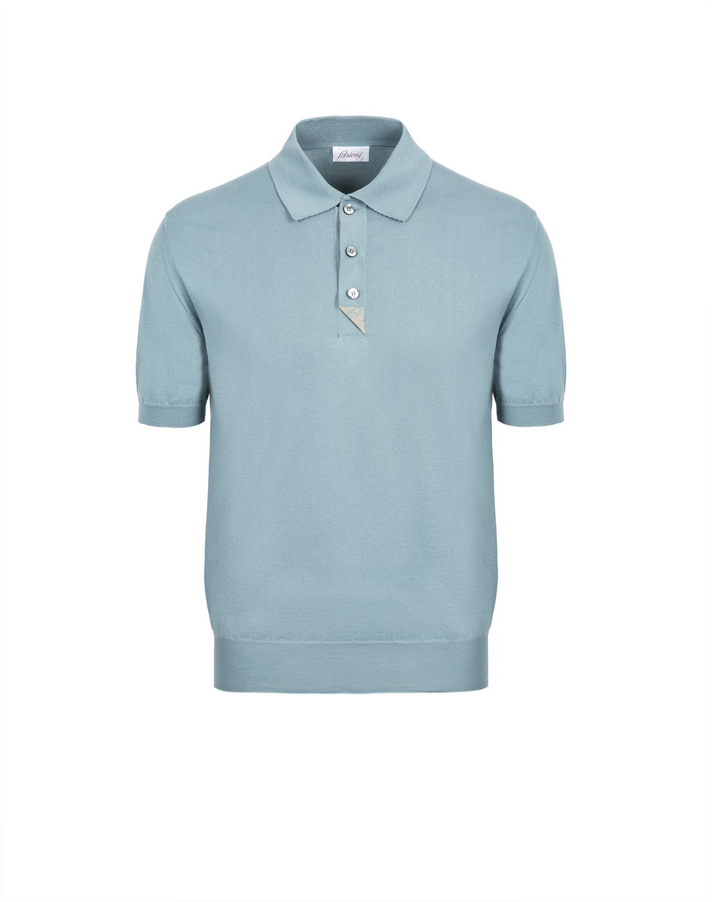 BRIONI Light Blue and Taupe Cotton Polo Shirt with Silk Details T-Shirts & Polos [*** pickupInStoreShippingNotGuaranteed_info ***] f
