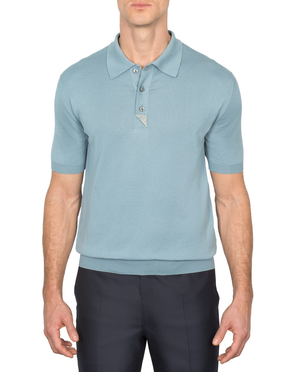 BRIONI Light Blue and Taupe Cotton Polo Shirt with Silk Details T-Shirts & Polos Man r