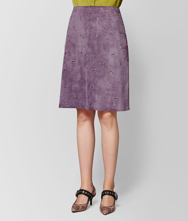 BOTTEGA VENETA GONNA IN CAMOSCIO LILAC Gonne e Pantaloni Donna fp