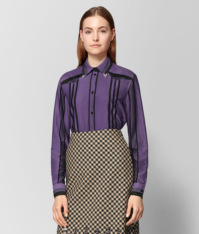 BOTTEGA VENETA POLO IN COTONE DARK LILAC NERO Maglieria o camicia o top Donna fp