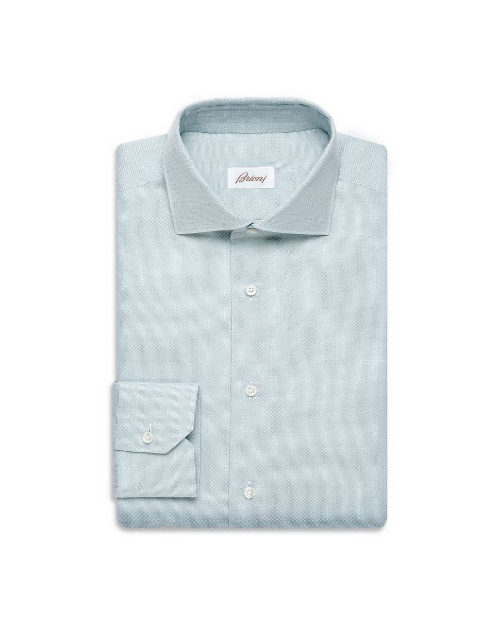 BRIONI Light Green Hopsack Formal Shirt Formal shirt [*** pickupInStoreShippingNotGuaranteed_info ***] f