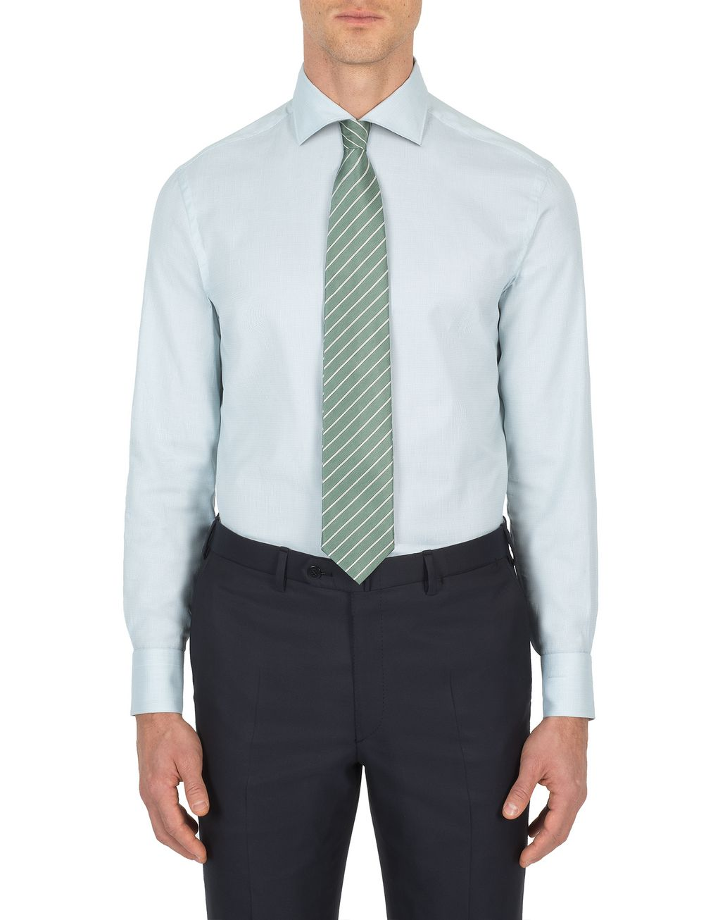 BRIONI Light Green Hopsack Formal Shirt Formal shirt [*** pickupInStoreShippingNotGuaranteed_info ***] r