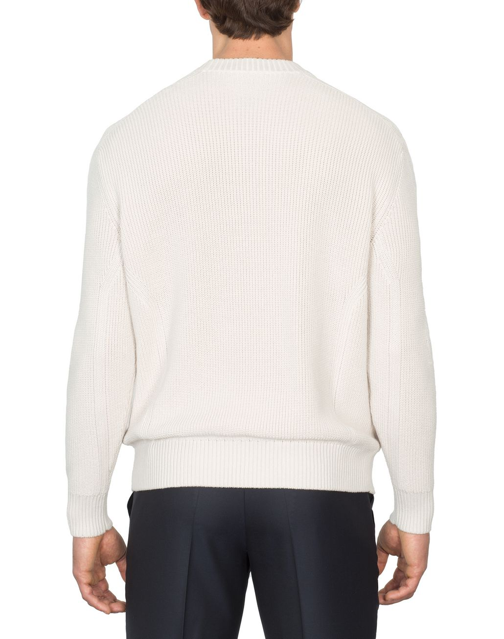 BRIONI Ivory Oversized Fit Sweater Knitwear Man d