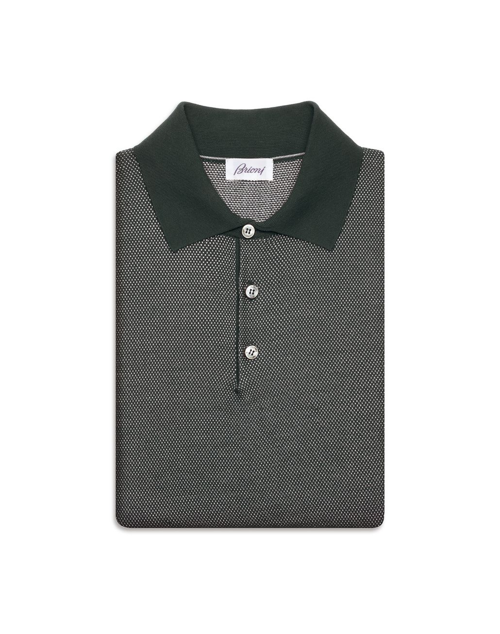 BRIONI Thyme Green Piquet Polo Shirt T-Shirts & Polos [*** pickupInStoreShippingNotGuaranteed_info ***] e