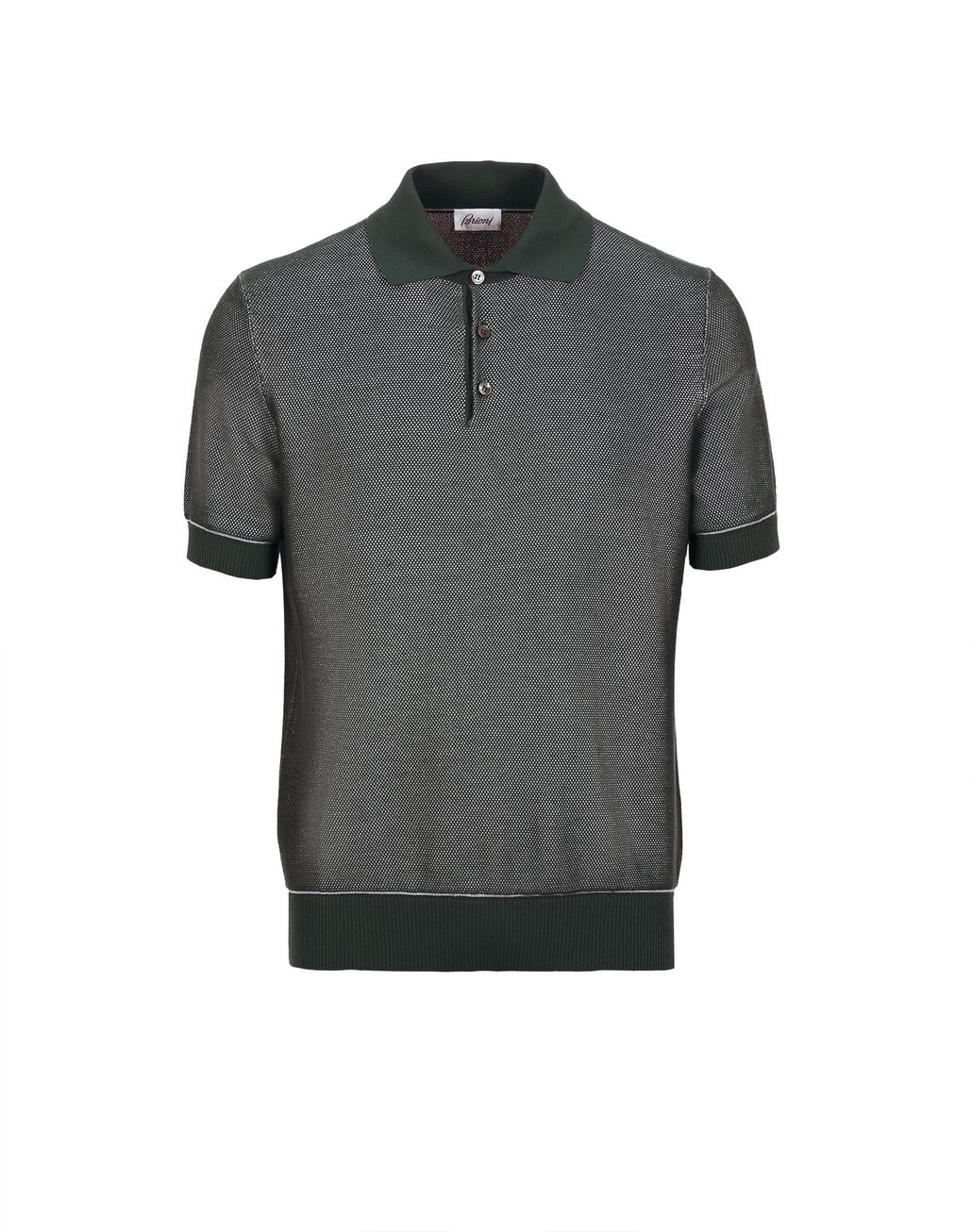 BRIONI Thyme Green Piquet Polo Shirt T-Shirts & Polos [*** pickupInStoreShippingNotGuaranteed_info ***] f