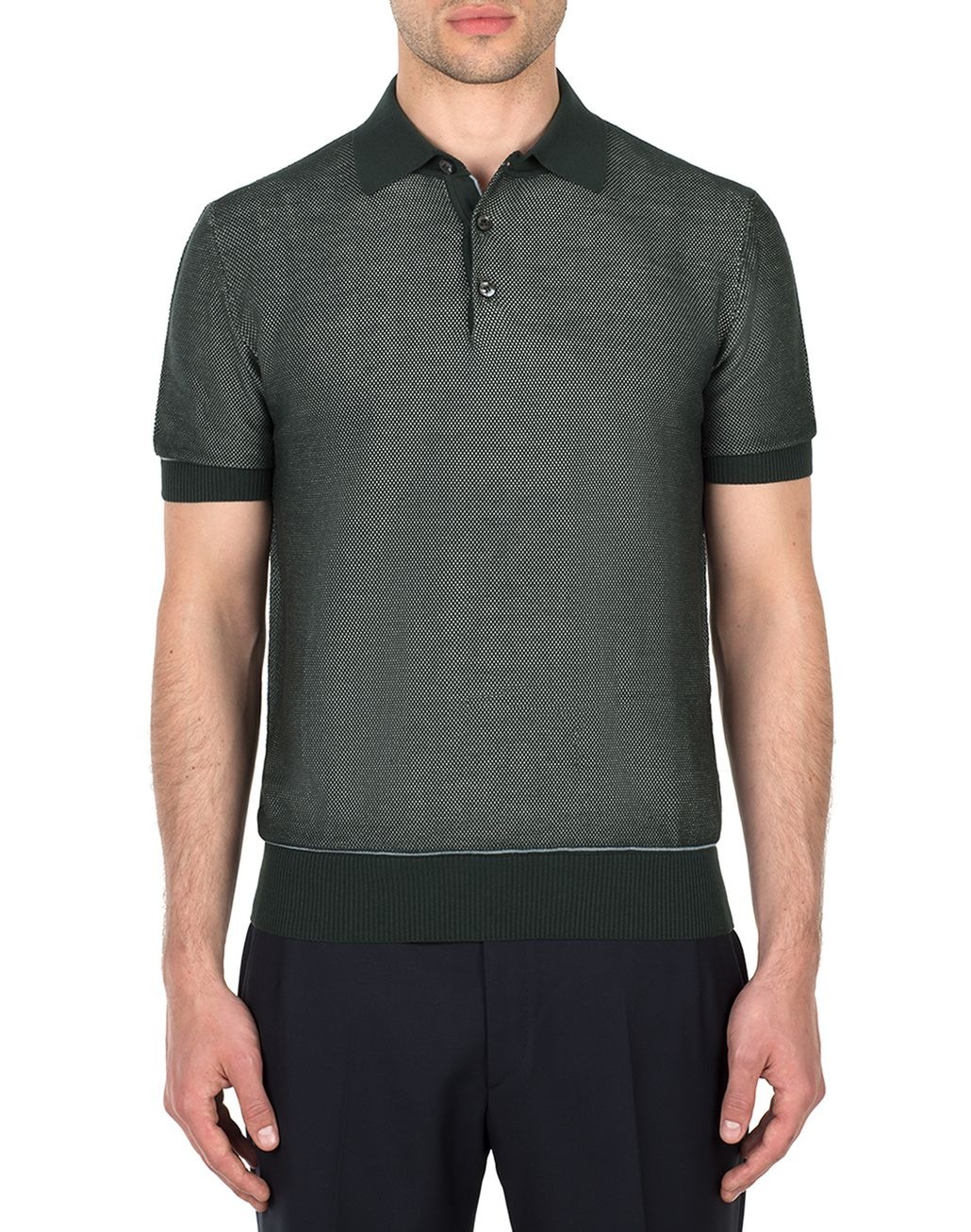 BRIONI Thyme Green Piquet Polo Shirt T-Shirts & Polos [*** pickupInStoreShippingNotGuaranteed_info ***] r