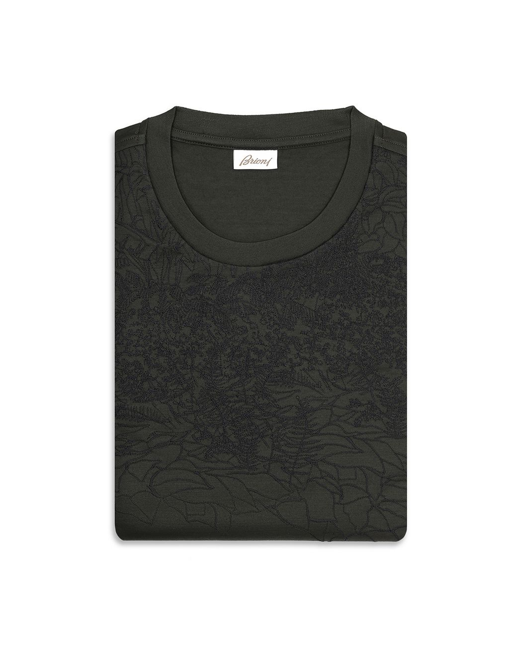 BRIONI Thyme Green Jungle Embroidery T-Shirt T-Shirts & Polos Man e