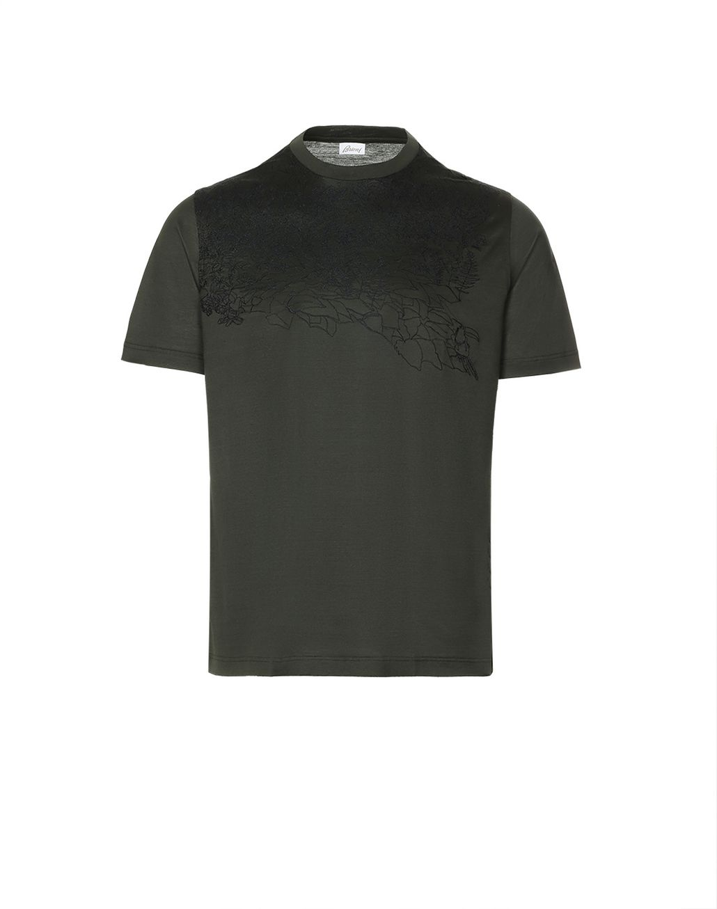 BRIONI Thyme Green Jungle Embroidery T-Shirt T-Shirts & Polos [*** pickupInStoreShippingNotGuaranteed_info ***] f