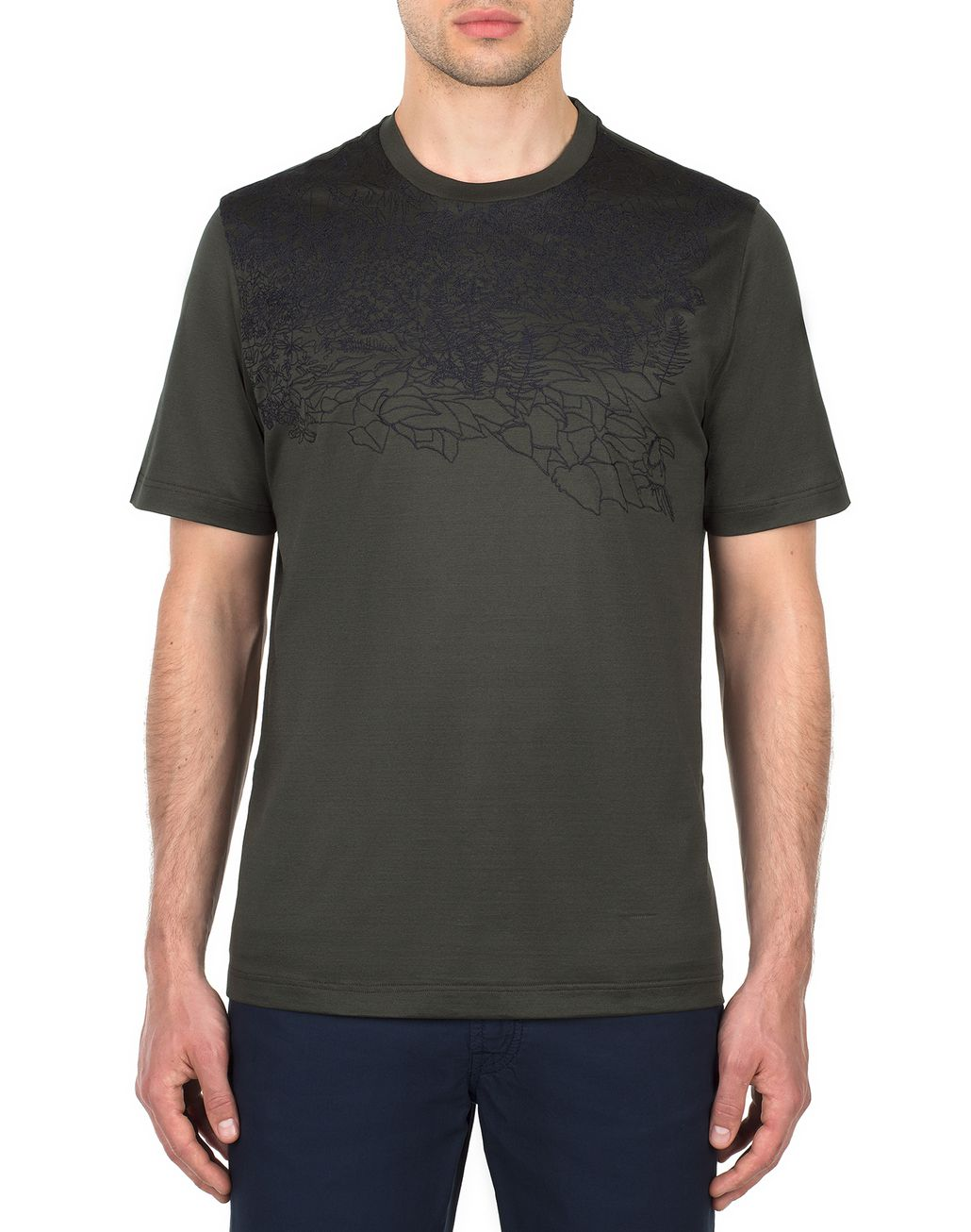 BRIONI Thyme Green Jungle Embroidery T-Shirt T-Shirts & Polos [*** pickupInStoreShippingNotGuaranteed_info ***] r