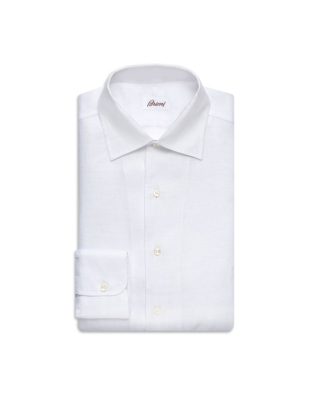 BRIONI White Linen Ventiquattro Shirt Leisure shirt Man f