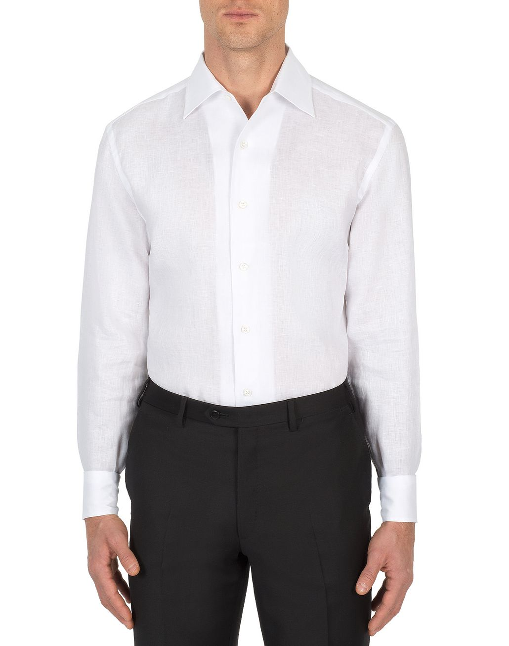 BRIONI White Linen Ventiquattro Shirt Leisure shirt Man r