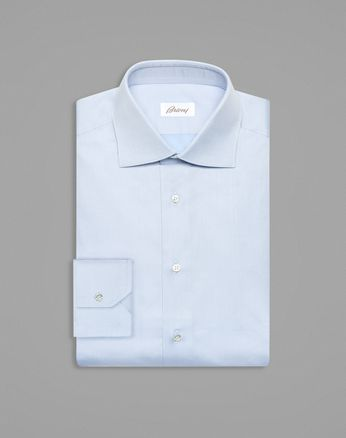 Sky-Blue Tone-on-Tone Rhombus Formal Shirt