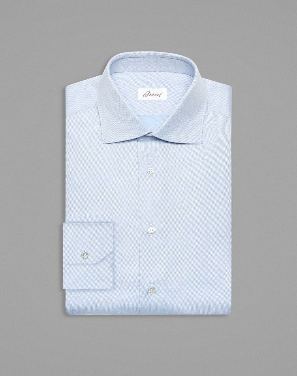 BRIONI Sky-Blue Tone-on-Tone Rhombus Formal Shirt Formal shirt Man f