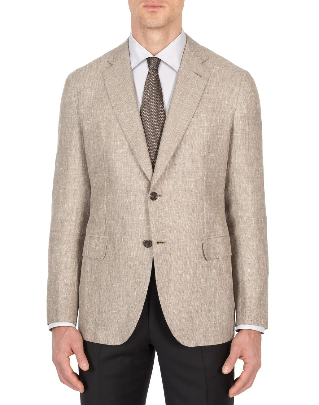 BRIONI Beige Hopsack Linen Plume Jacket Suits & Jackets Man r