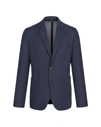 Navy-Blue Silk Piqué Jacket