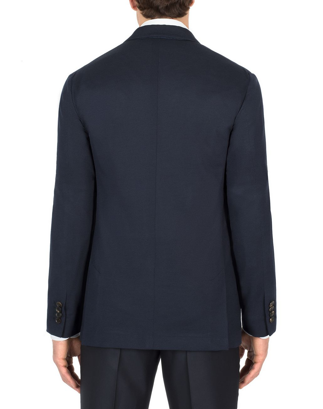 BRIONI Navy-Blue Silk Piqué Jacket Jackets Man d