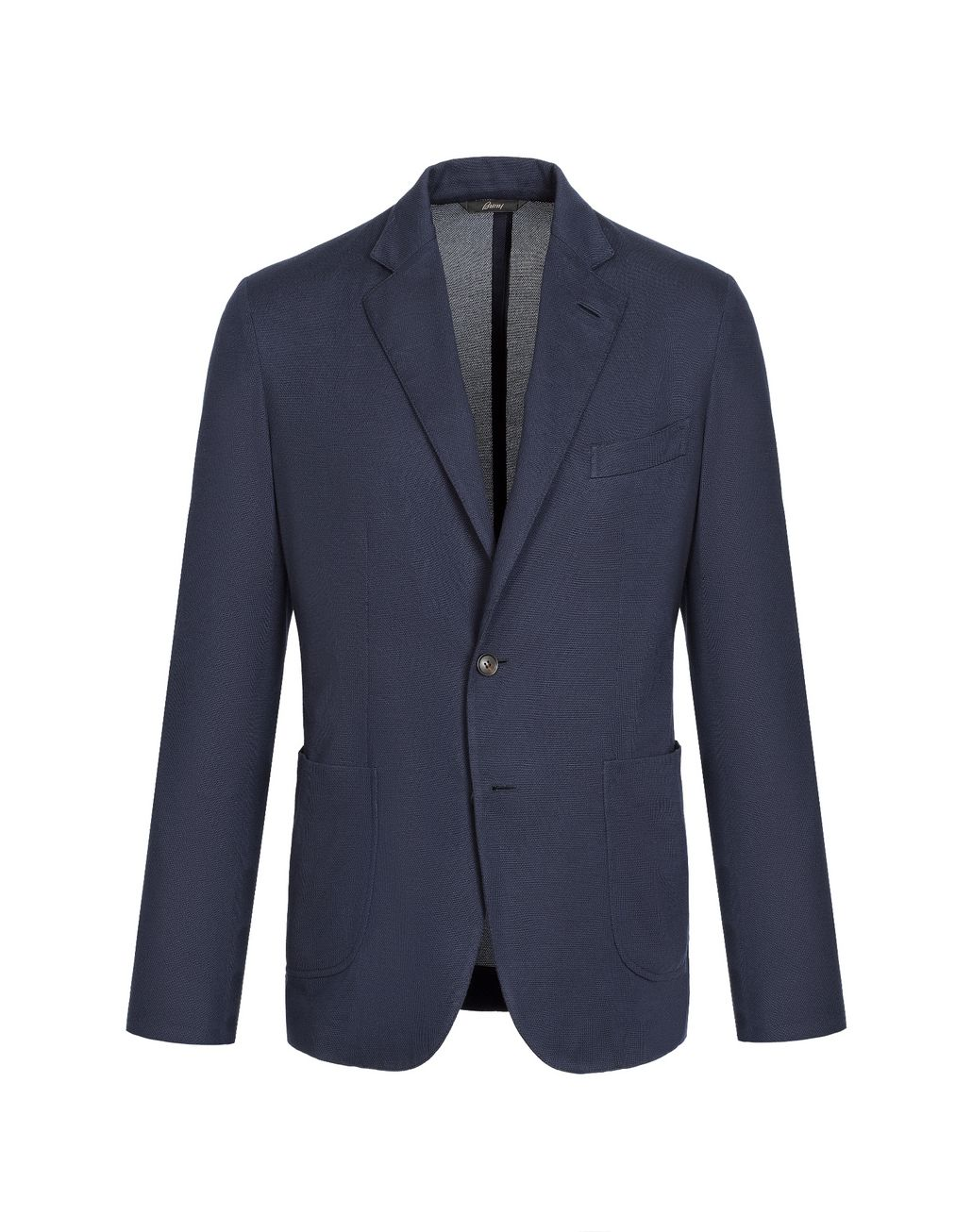 BRIONI Navy Blue Silk Piquet Jacket Jackets Man f