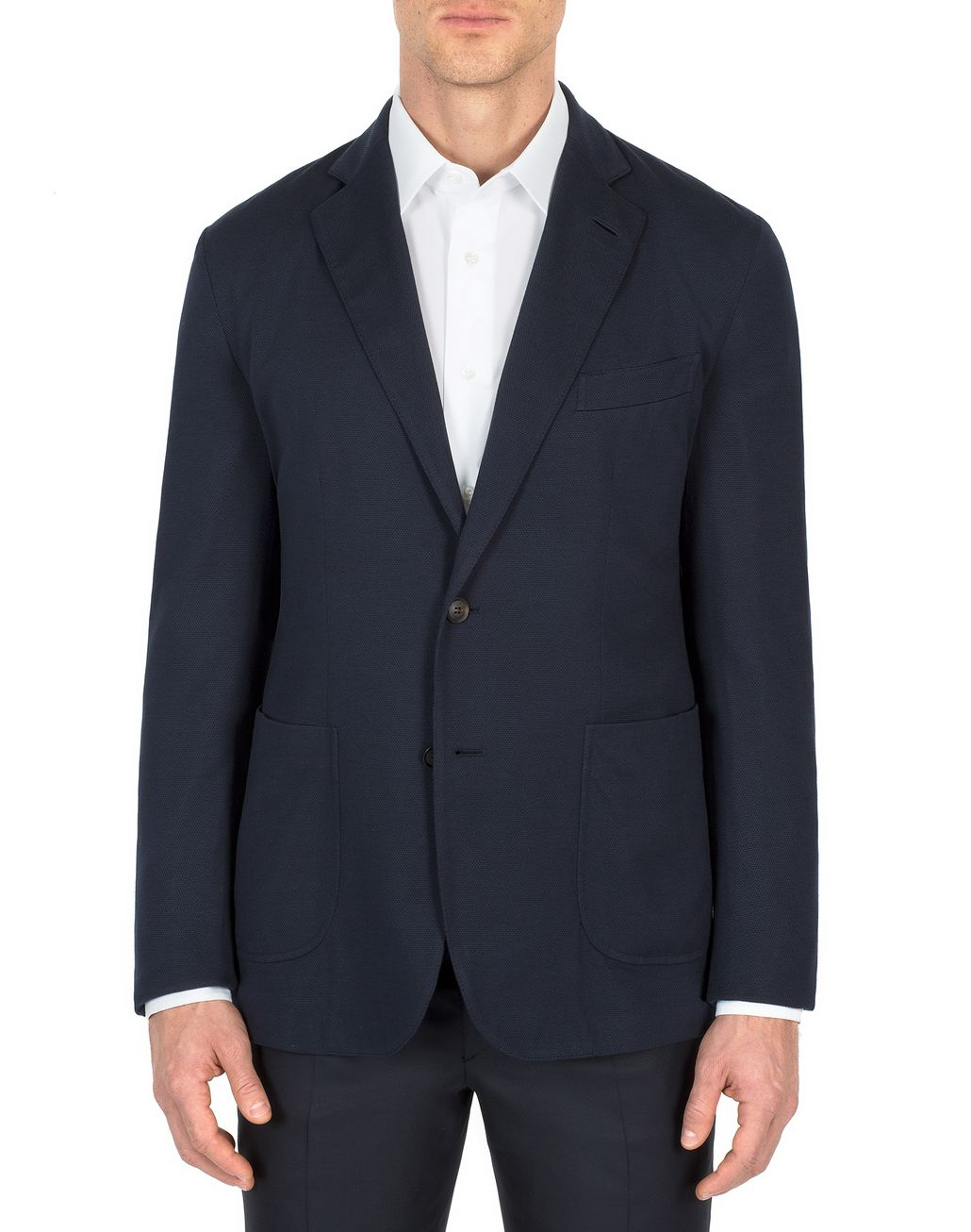BRIONI Navy Blue Silk Piquet Jacket Jackets [*** pickupInStoreShippingNotGuaranteed_info ***] r