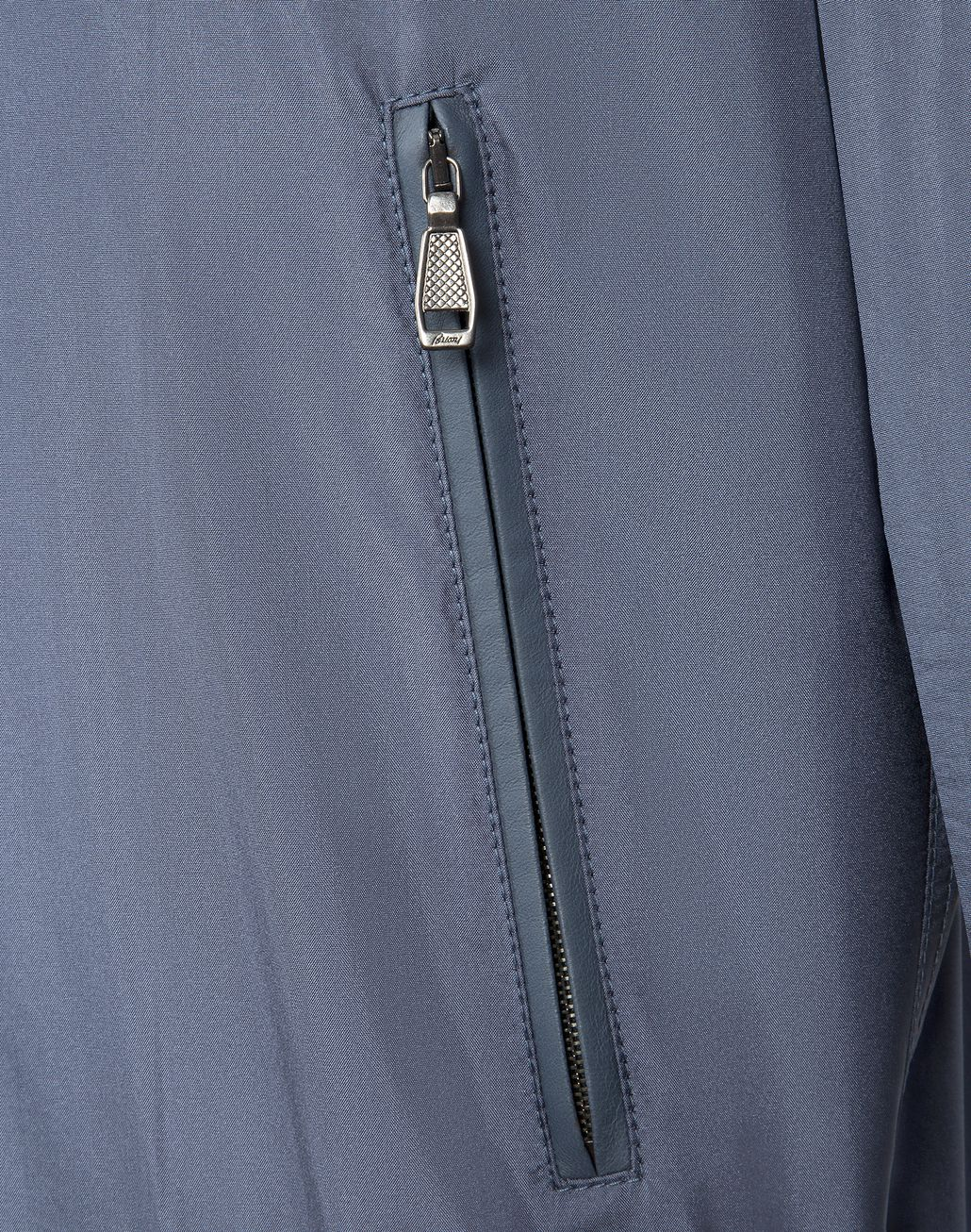 BRIONI Light Blue Lightweight Silk Bomber Outerwear [*** pickupInStoreShippingNotGuaranteed_info ***] a