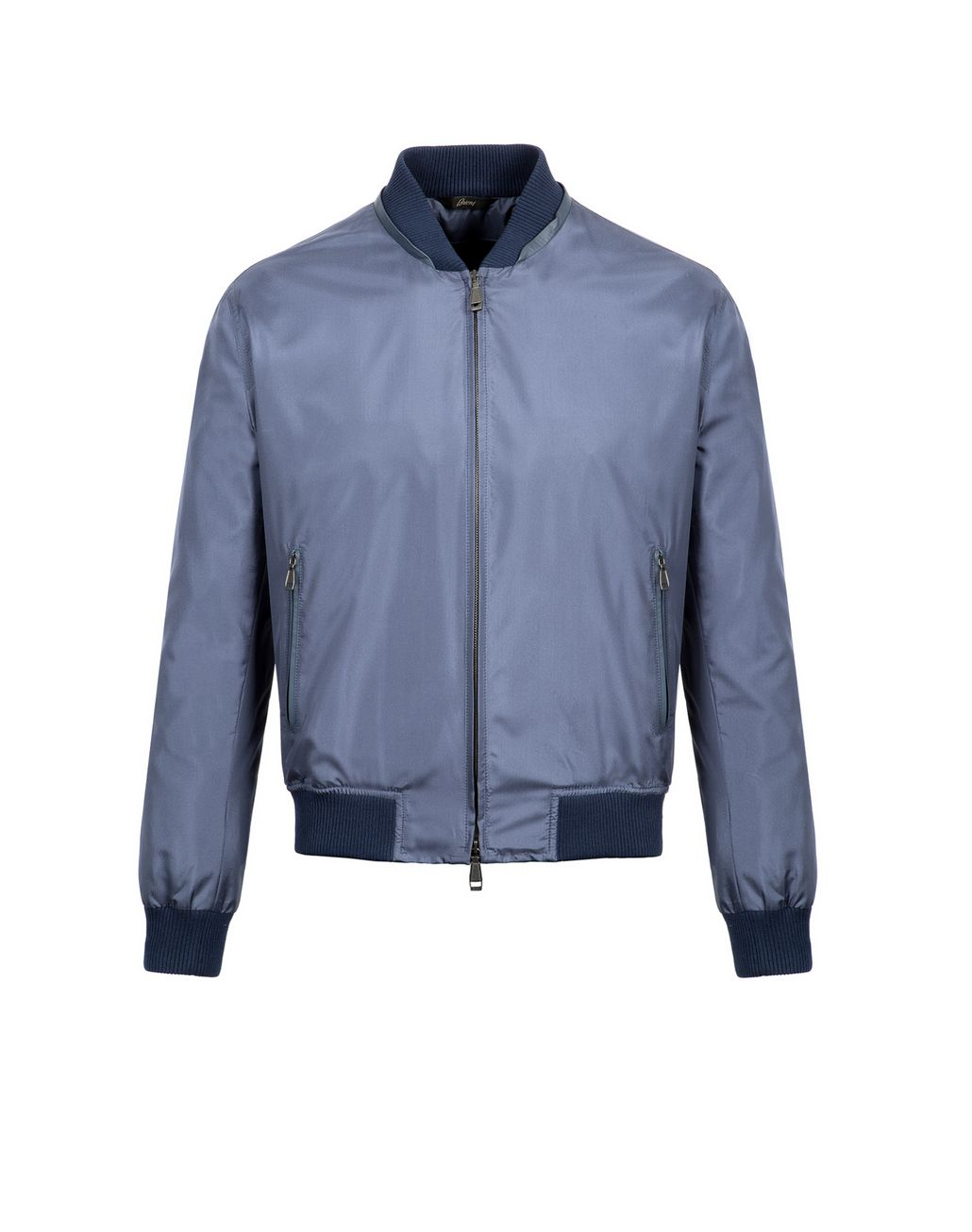 BRIONI Light Blue Lightweight Silk Bomber Outerwear [*** pickupInStoreShippingNotGuaranteed_info ***] f