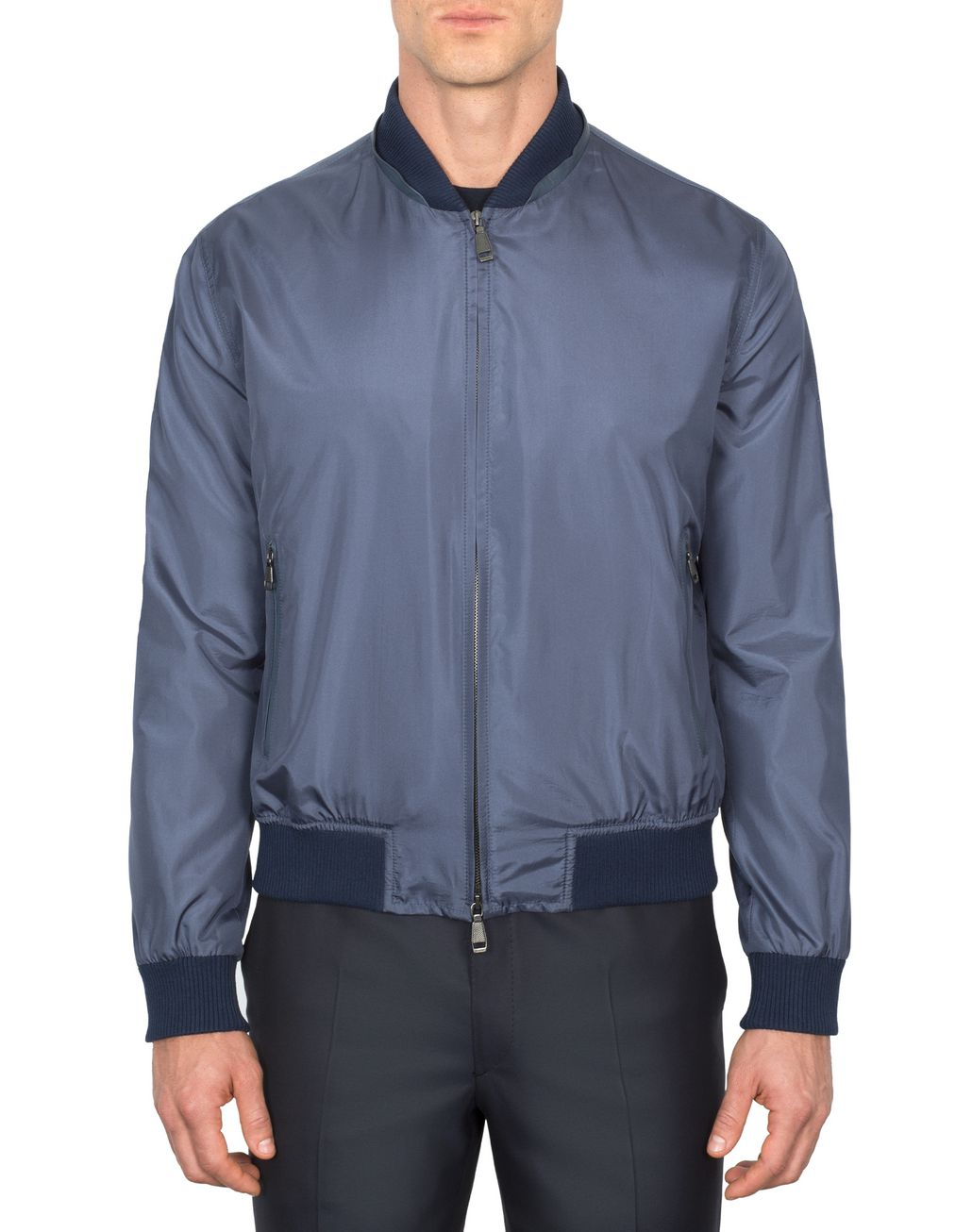 BRIONI Light Blue Lightweight Silk Bomber Outerwear [*** pickupInStoreShippingNotGuaranteed_info ***] r