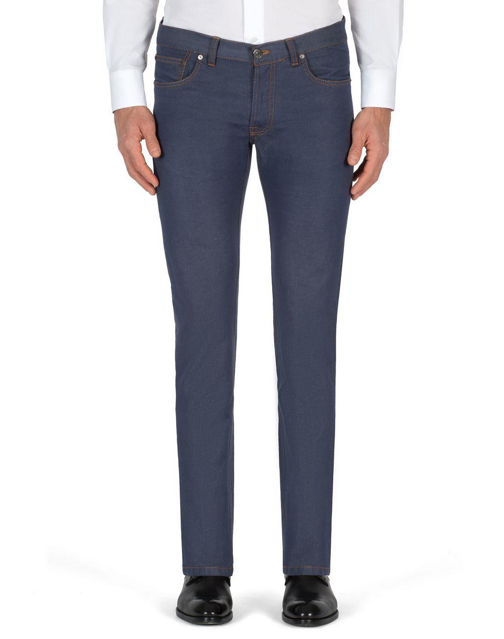 BRIONI Jean slim Aneto bleuet en lin et coton  Jean [*** pickupInStoreShippingNotGuaranteed_info ***] r