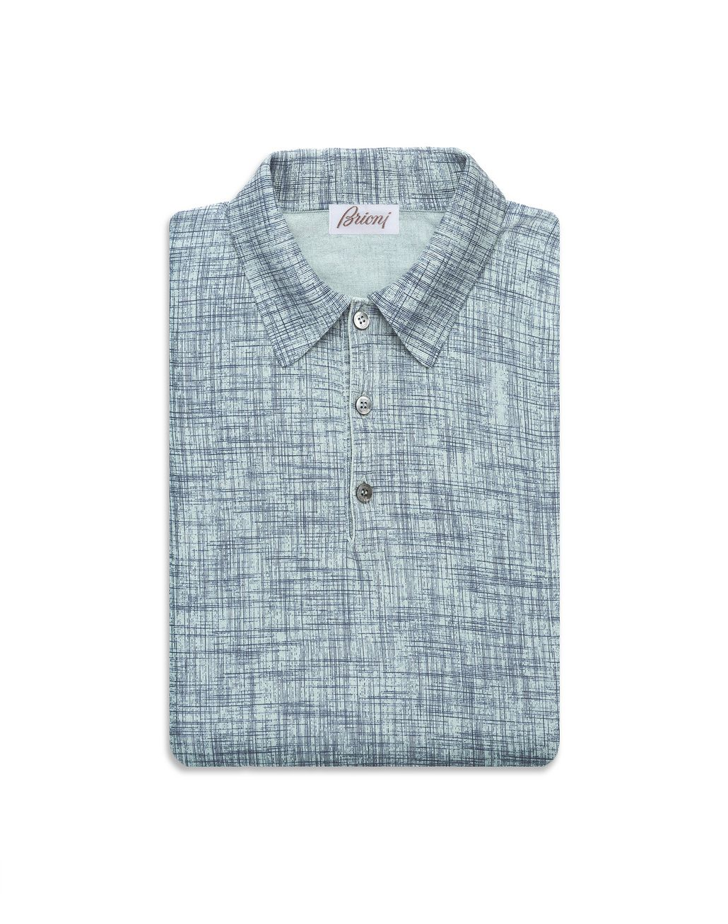 BRIONI Bluette Printed Cotton and Silk Polo Shirt   T-Shirts & Polos Man e