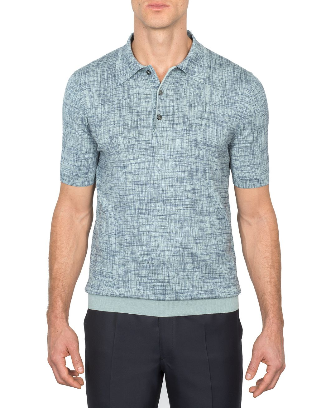 BRIONI Bluette Printed Cotton and Silk Polo Shirt   T-Shirts & Polos Man r