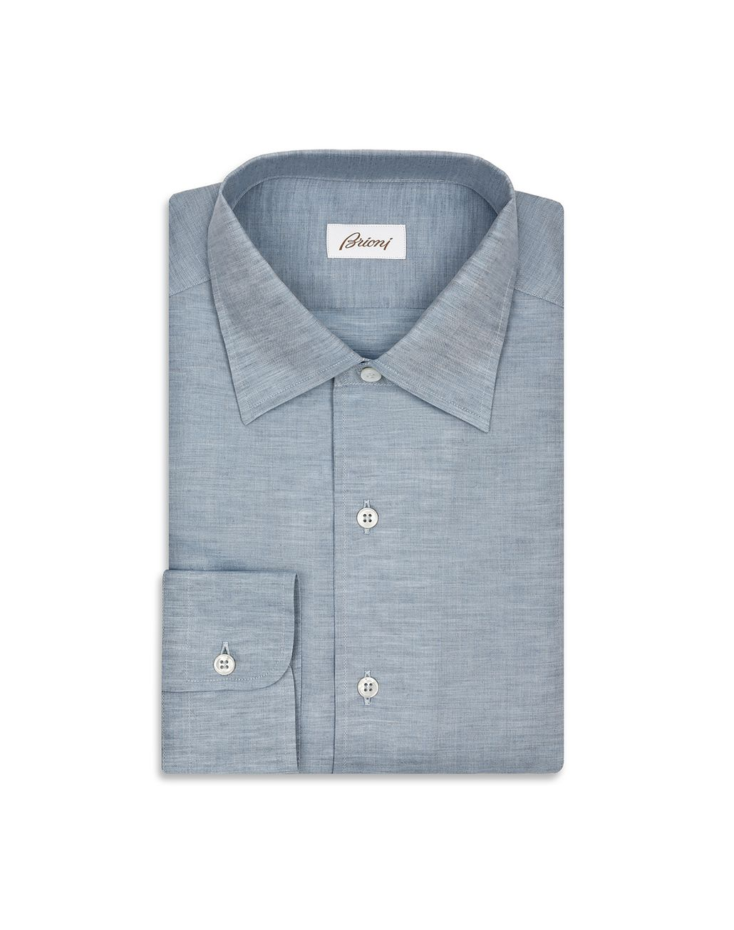 BRIONI Light Blue Cotton and Linen Shirt   Leisure shirt Man f