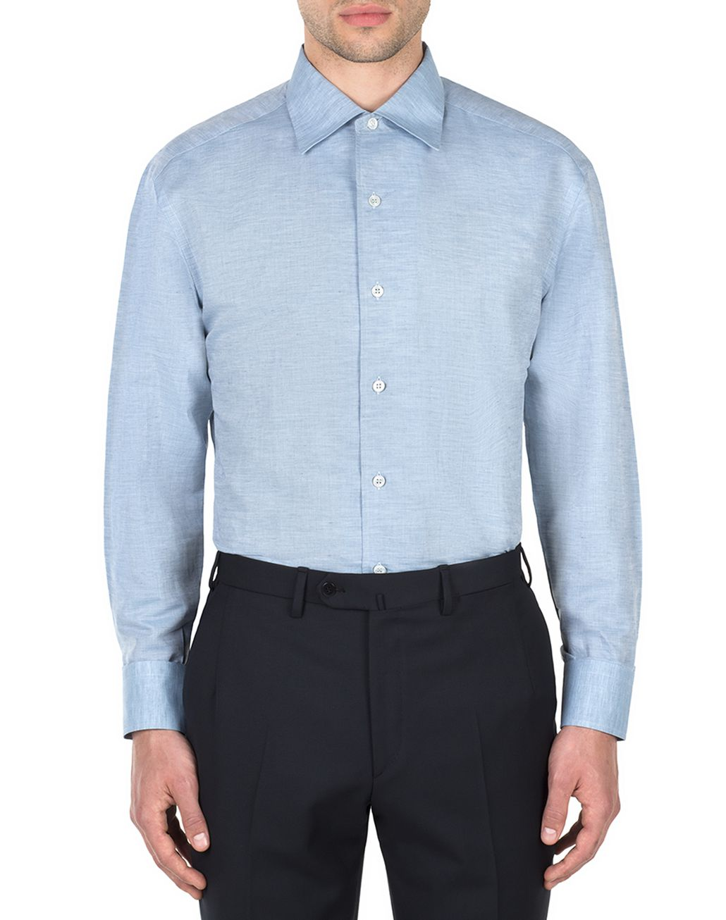 BRIONI Light Blue Cotton and Linen Shirt   Leisure shirt Man r