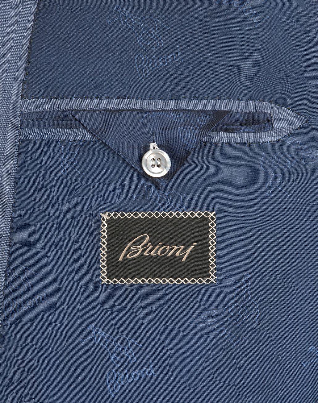 "BRIONI Голубой костюм Ravello с мелким узором ""в ёлочку""   Suits & Jackets Для Мужчин b"