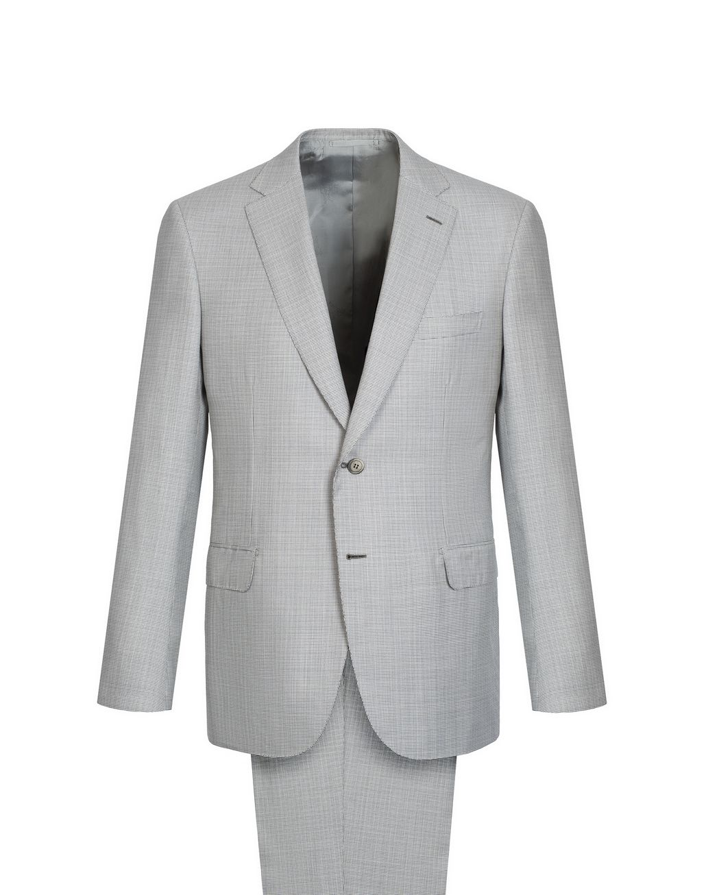 BRIONI White and Gray Micro Houndstooth Brunico Suit  Suits & Jackets Man f