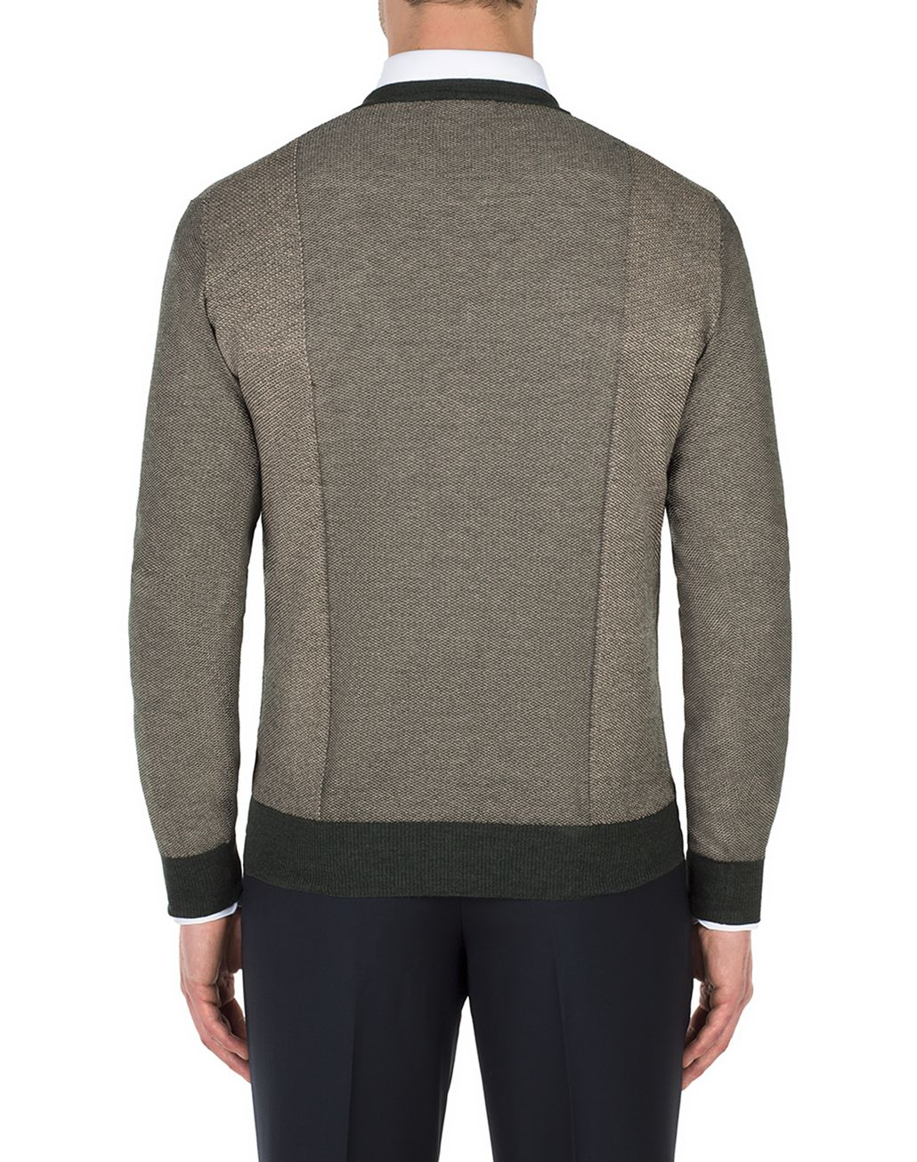 BRIONI Thyme Green and Sand V-neck Micro Jacquard Sweater   Knitwear Man d