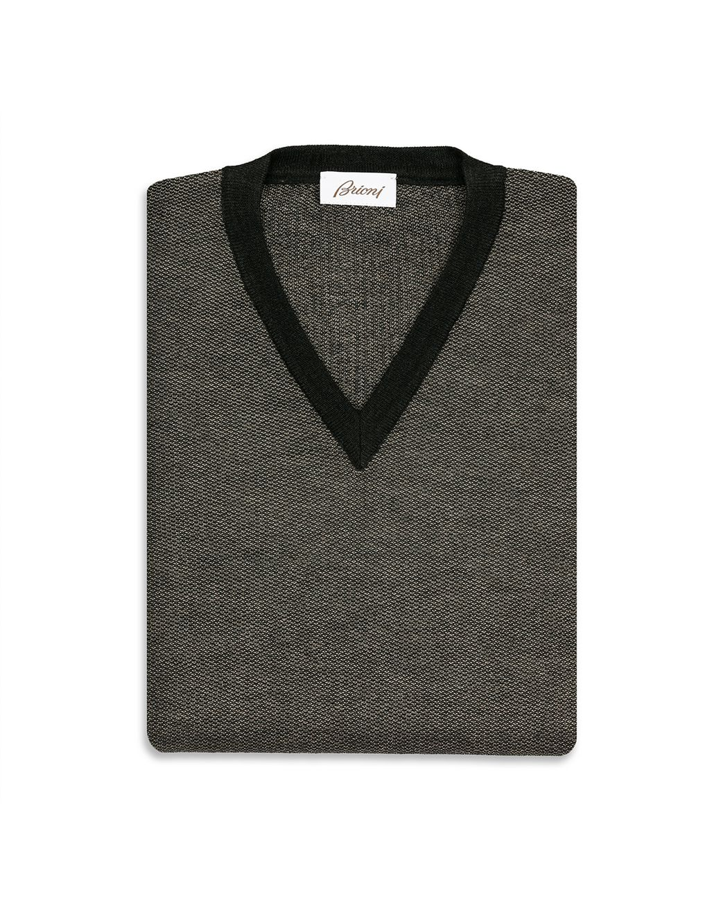 BRIONI Thyme Green and Sand V-neck Micro Jacquard Sweater   Knitwear Man e