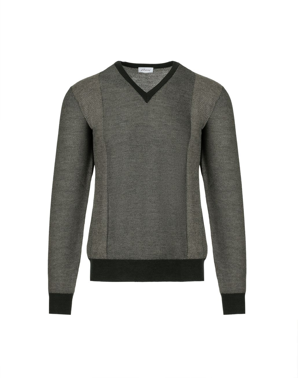BRIONI Thyme Green and Sand V-neck Micro Jacquard Sweater   Knitwear [*** pickupInStoreShippingNotGuaranteed_info ***] f