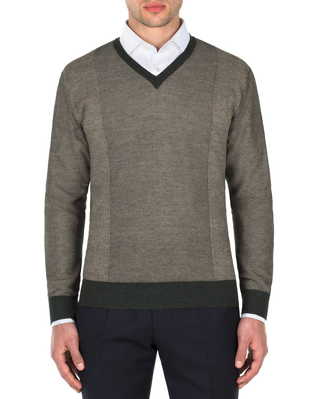 BRIONI Thyme Green and Sand V-neck Micro Jacquard Sweater   Knitwear [*** pickupInStoreShippingNotGuaranteed_info ***] r