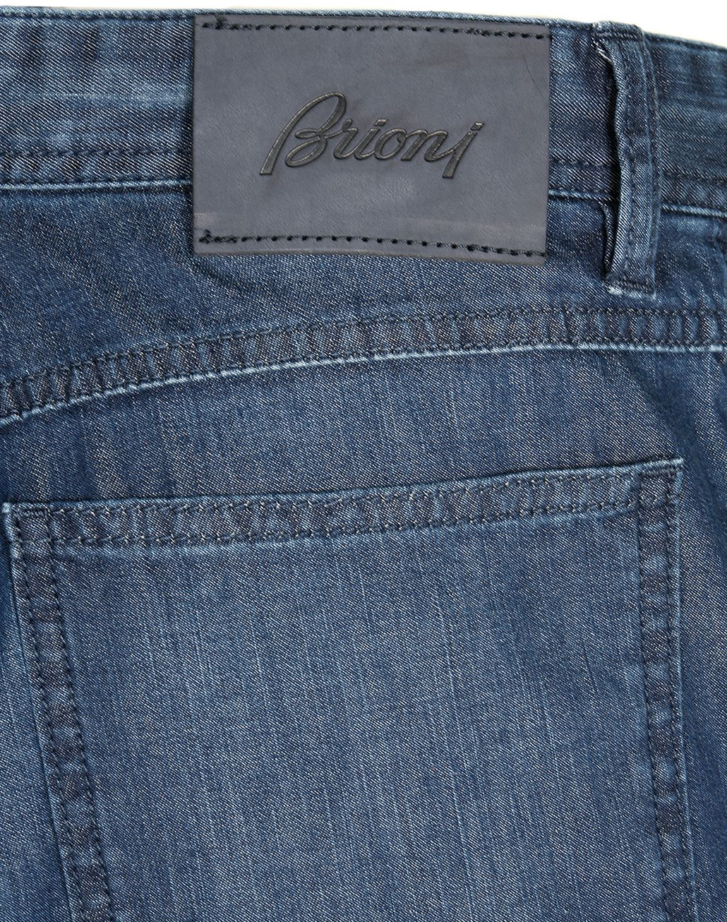 BRIONI Navy Blue Comfort Fit Chamonix Jeans  Denim Man a