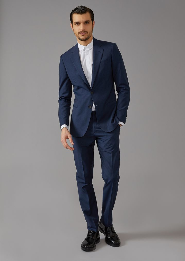 9be70d6613f Mouline twill Soho suit | Man | Giorgio Armani