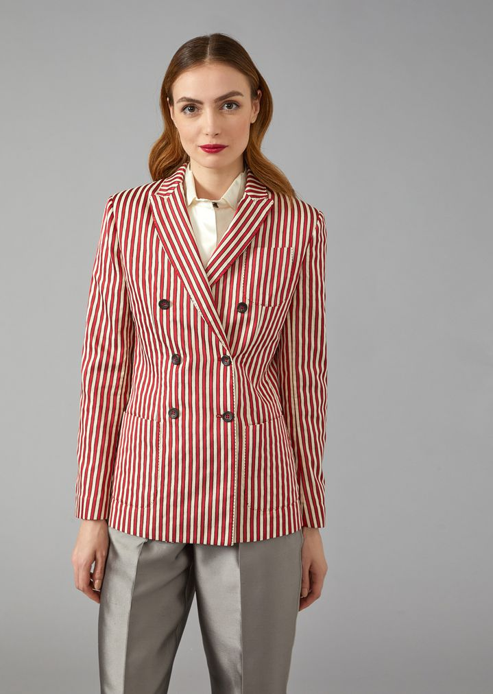 GIORGIO ARMANI Striped Canvas Jacket Jacket Woman f
