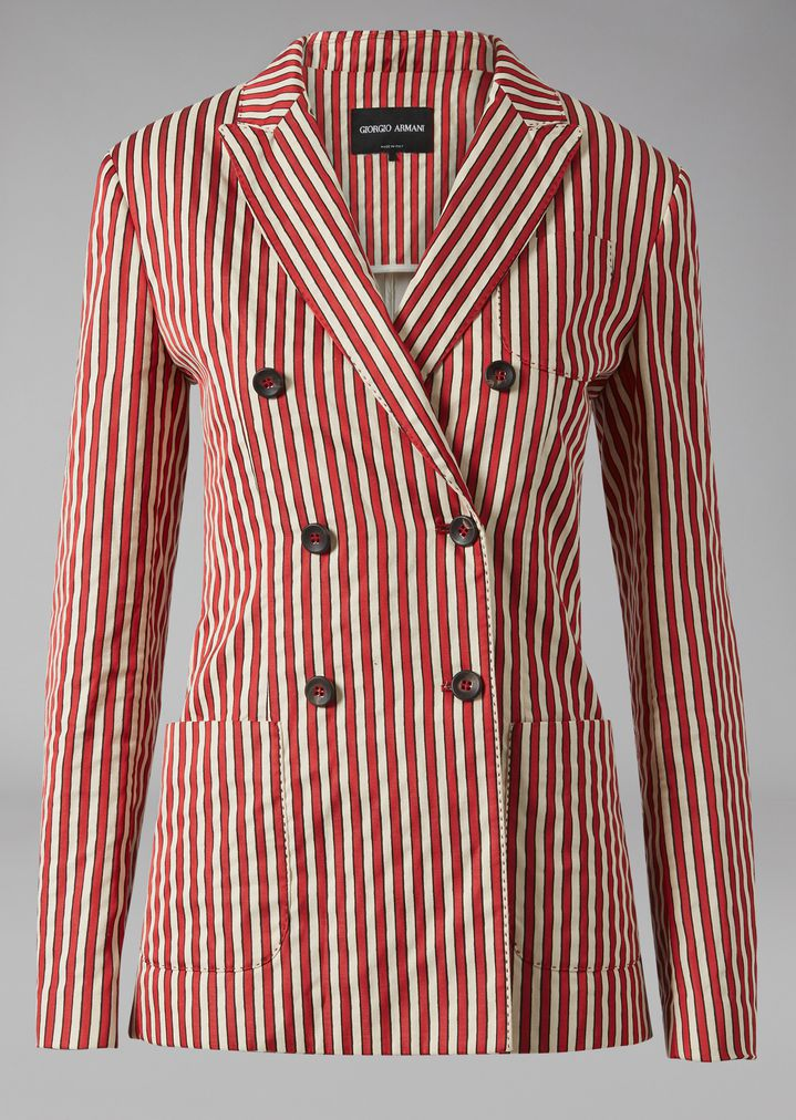 GIORGIO ARMANI Striped Canvas Jacket Jacket Woman r