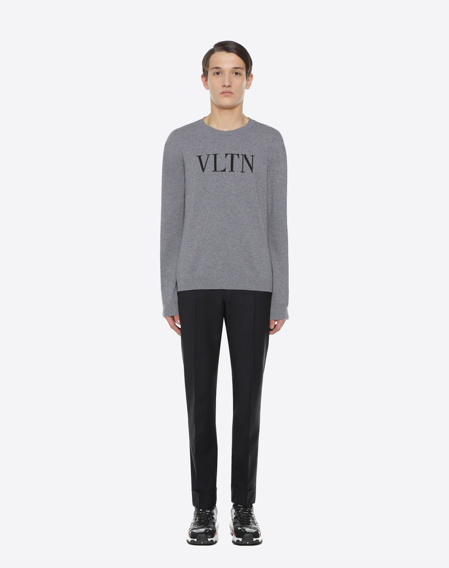 VALENTINO Logo Lightweight knitted Dungarees top Long sleeves  49376117xs